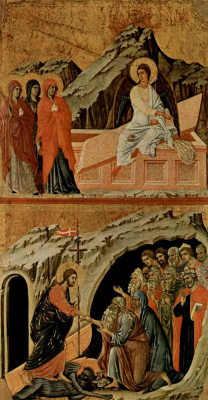 Duccio di Buoninsegna. Maesta, altar of Siena Cathedral, reverse side, Register with scenes of Christ's Passion