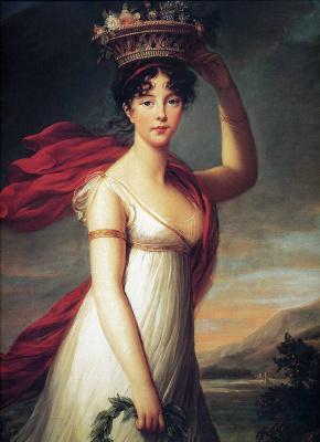 Elizabeth Vigee Le Brun. Portrait of the artist's daughter Jeanne-Julie in the image of Flora