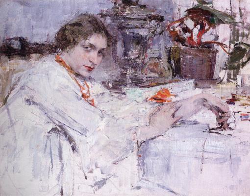Nikolay Feshin. At the samovar. Portrait Of O. M. Ash