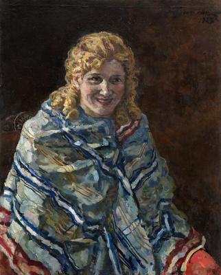 Petr Petrovich Konchalovsky. Portrait of Anna Kondratieva Reichstadt in a blue shawl