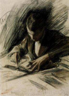 Борис Пастернак пишущий письмо.