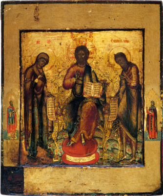 Icon Painting. Deesis, with two saints in the fields (Nevyansk)