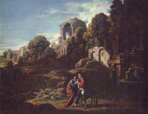 Адам Эльсхаймер. Пейзаж со Святым семейством