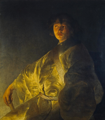 Jan Livens. Portrait of a young man in a yellow robe