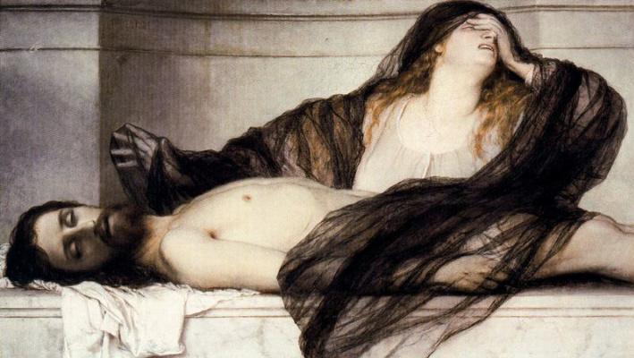 Arnold Böcklin. Mary Magdalene, mourning for Christ