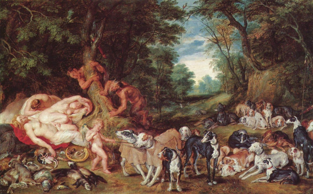 Peter Paul Rubens. Nymphs, satyrs and dogs