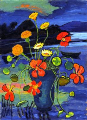 Габриель Мюнтер. Цветы на фоне пейзажа