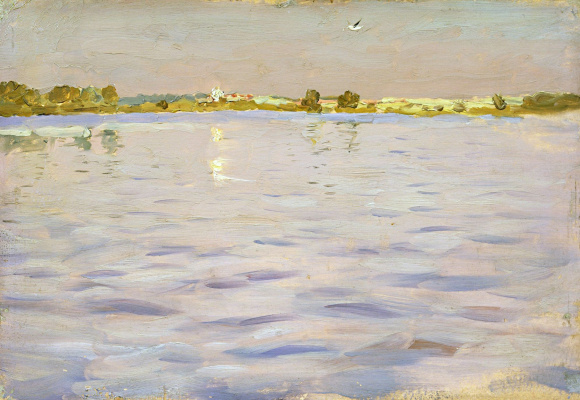 "Isaac Levitan. The last rays. The lake. A sketch for the painting ""Lake"""