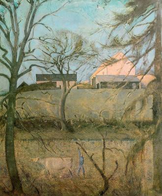 Balthus (Balthasar Klossovsky de Rola). Landscape with a cow