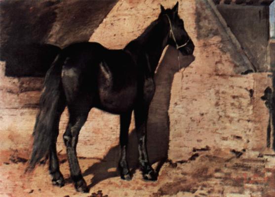 Джованни Фаттори. Чёрная лошадь на солнце