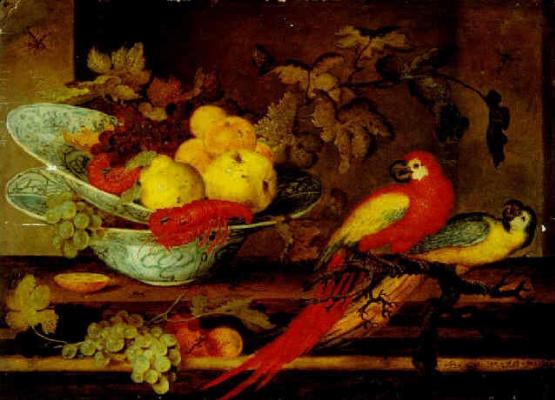 Балтазар ван дер Аст. Натюрморт с фруктами и раками в двух фарфоровых чашах и двумя попугаями на ветке