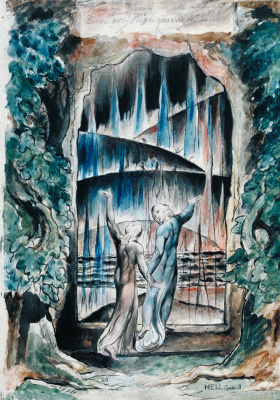 "William Blake. Dante and Virgil at the entrance to hell. Illustrations for ""the divine Comedy"""