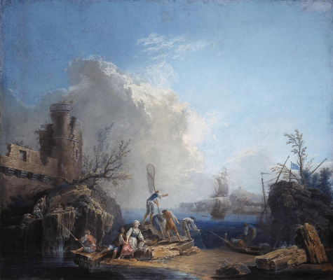 Pierre-Jacques Woller. Marine landscape with fishermen on a rocky shore.