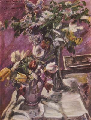 Lovis Corinto. Floral still life, lilacs and tulips