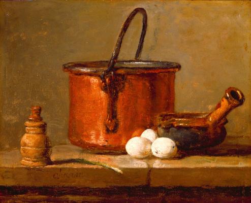 Жан Батист Симеон Шарден. Натюрморт с медным котлом, яйцами и перечницей