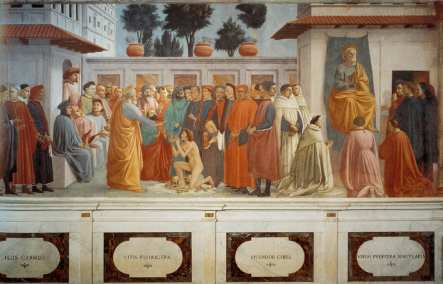 Tommaso Masaccio. The resurrection of the son of Theophilus and St. Peter in the pulpit