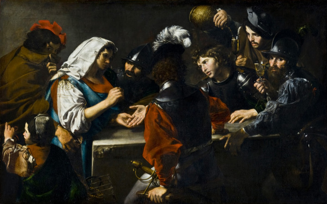 Valentine de Boulogne. The fortune teller and soldiers