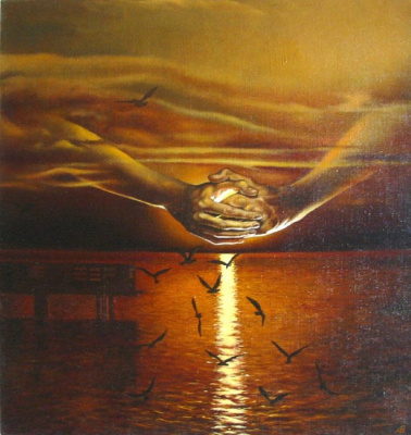 Владимир Васильевич Абаимов. Seagulls at sunset