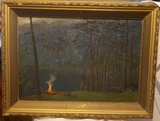 Boris Yakovlevich Ryauzov. Morning bonfire.