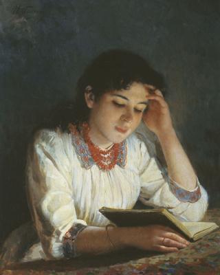 Илья Саввич Галкин. За чтением. 1890