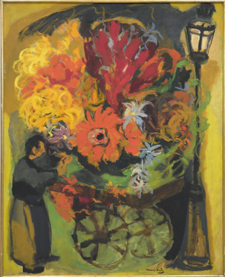 Mane-Katz (Immanuel Katr Leiserovich). Flower carriage under a street lamp