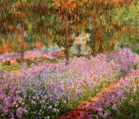 Claude Monet. Irises in Monet's garden