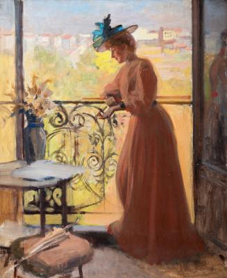 Albert Gustav Aristide Edelfelt. The lady on the balcony, Parisian.