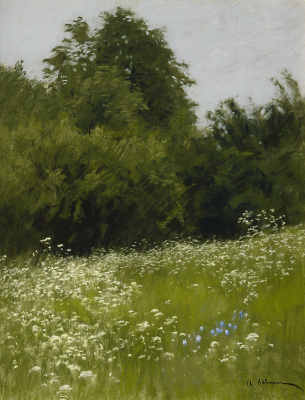 Isaac Levitan. Meadow at the forest edge