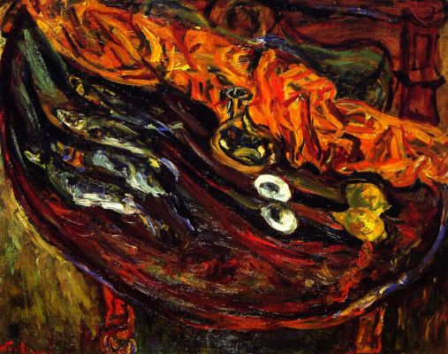 Haim Solomonovich Soutine. Still life with fish, eggs and lemons