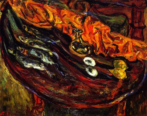 Хаим Соломонович Сутин. Натюрморт с рыбой, яйцами и лимонами