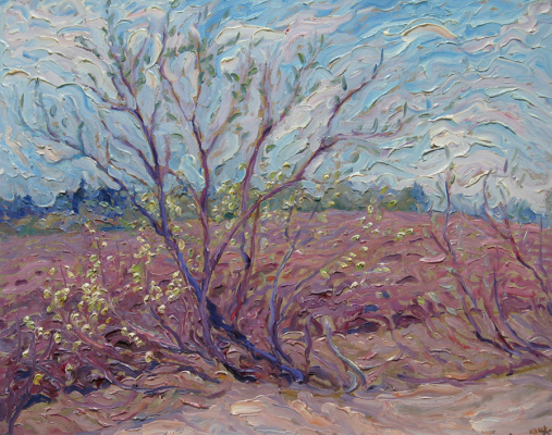 Alexey Vladimirovich Konstantinov. Blooming willow trees at the edge of the field