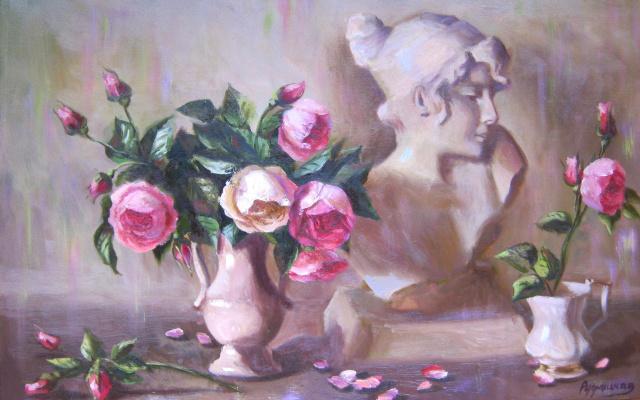 Жанна Александровна Рудницкая. Натюрморт с чайными розами и бюстом Софо