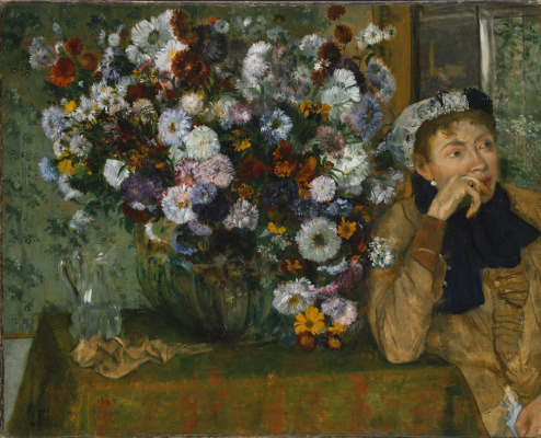 Edgar Degas. The woman seated beside a vase of flowers (Woman with chrysanthemums)