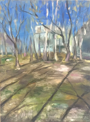 """Sophia Vinogradova. Painting """"Warm April"""" (oil on canvas trees sky spring grass sun yard joy freshness romance melts snow early spring April Moscow courtyard five-story building)"""