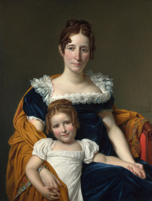 Jacques-Louis David. Portrait of the Countess Ville with her daughter