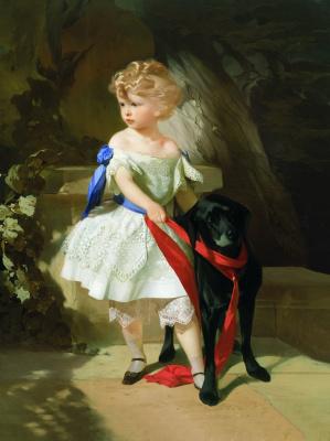 Иван Кузьмич Макаров. Девочка с собакой. 1860-е