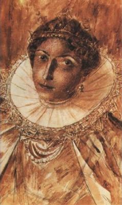 "Kuzma Sergeevich Petrov-Vodkin. A sketch of the makeup of Marina Mnishek for the play ""Boris Godunov"""