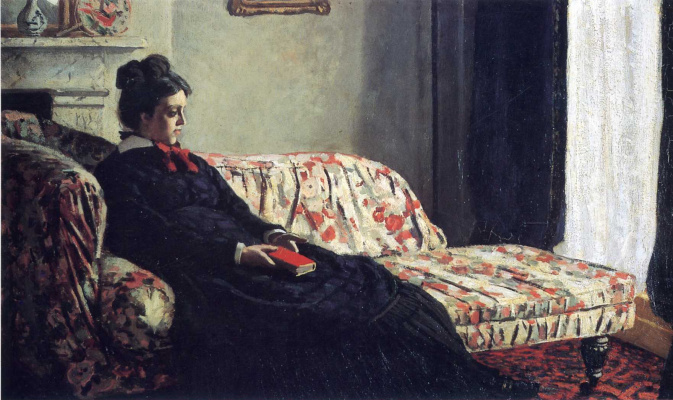 Claude Monet. Reflection. Madame Monet on the sofa