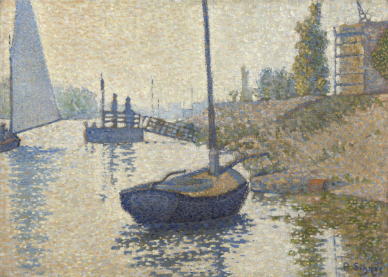 Paul Signac France 1863 - 1935. Ponton La Felicit. Enyer, opus number 143. 1886, October
