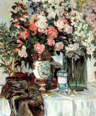 Alexander Yakovlevich Golovin. Roses and porcelain