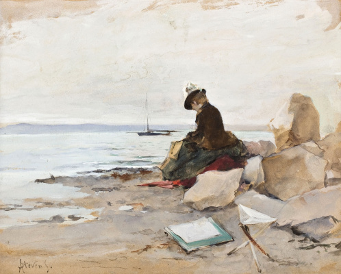 Alfred Emil-Leopold Stevens. The artist on the shore.