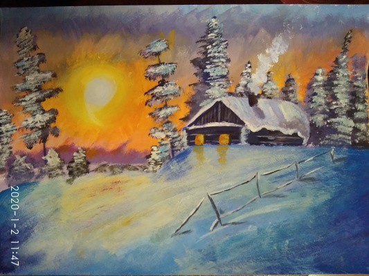 Ekaterina Kalyaeva. Winter. Sunset.