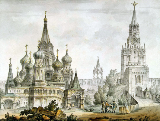 Giacomo Quarenghi. Pokrovskiy Cathedral and Spasskaya tower in Moscow