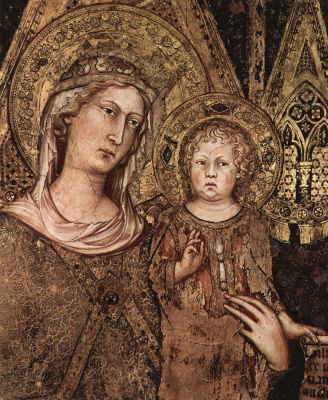 Simone Martini. Maesta, Madonna enthroned as patroness of the city, surrounded by saints, fresco in the Palazzo Pubblico in Siena, detail