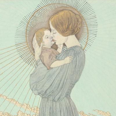 Карлос Швабе. Дизайн обложки Мадонна с Младенцем. 1895  корпусная краска. Деталь