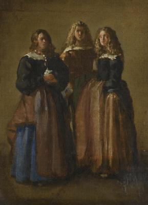 Juan Batista Martinez del Maso. Three women in Aranjuez