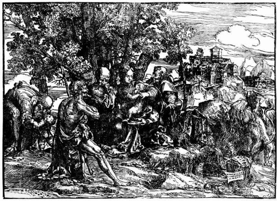 Доменико Кампаньола. Святое семейство со святыми в пейзаже