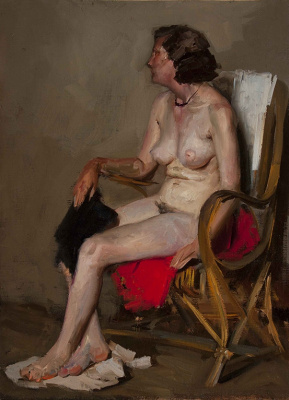 Heliy Mikhailovich Korzhev. Nude in an armchair (study)