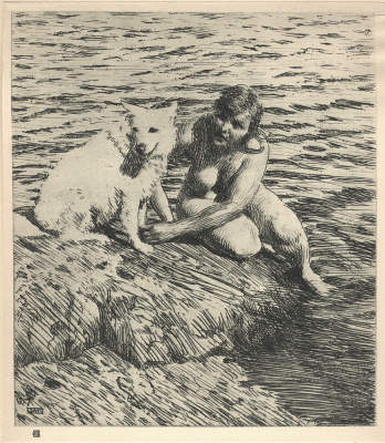 Anders Zorn. A woman with a dog near the water