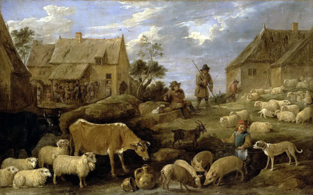 David Teniers the Younger. Landscape with shepherds and herd